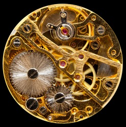 Macro shot of the interior of an old pocket watch with a hand-wound mechanical movement