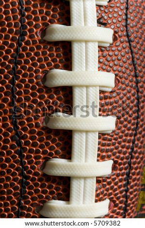 Macro shot of the laces on a Brown leather american football - great for background