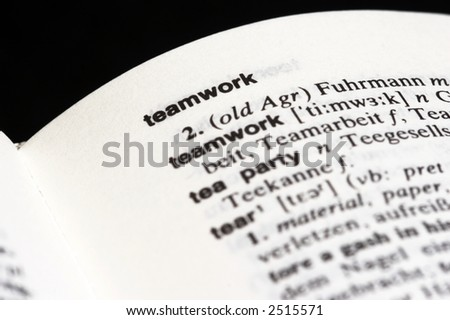 Macro shot of the word teamwork in a dictionary