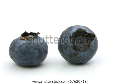 Macro shot of two bilberries on a white background.