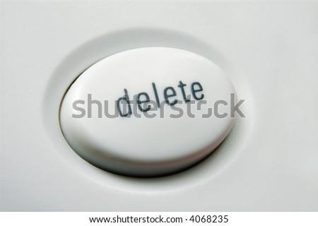 Macro shot of white delete button on keyboard