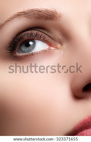 Macro shot of woman\'s beautiful eye with extremely long eyelashes. Sexy view, sensual look. Female eye with long eyelashes. Eyelashes extensions. Perfect make-up