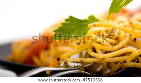 macro shot pasta and