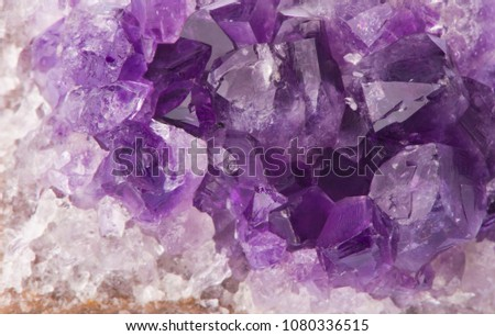 Macro structure of natural violet amethyst gem stone crystals texture #1080336515
