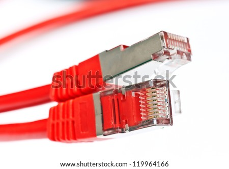 macro takes: Connections of red network cable