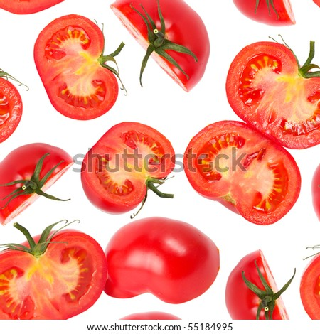 Macro tomato slices isolated over white background seamless wallpaper