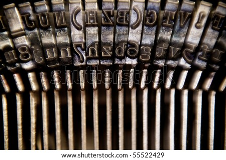 Macro typebars on antique typewriter