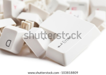 Macro view of a heap of keyboard