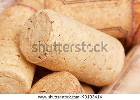 Macro view of a heap of wine corks