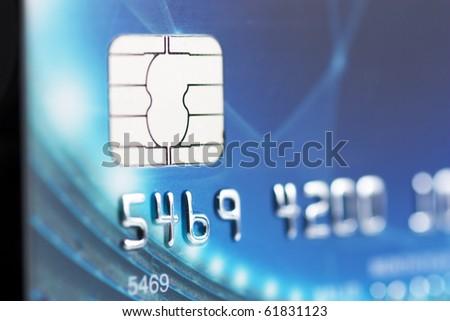 Macro view of credit card. Narrow focus.
