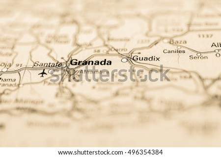 Macro view of Granada, Spain on map. Images and Stock Photos ... on
