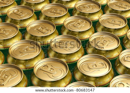 Macro view of metal drink cans with beer