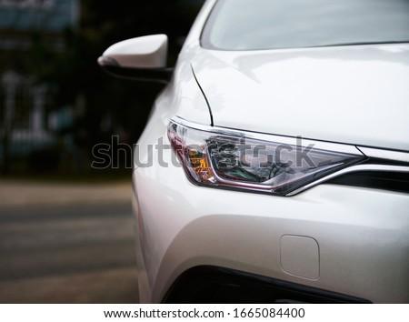 Macro view of modern white car lamp headlight. Сток-фото ©