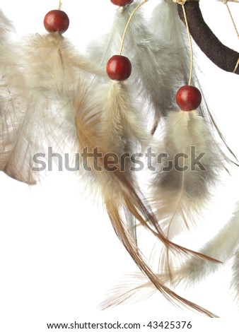 Macro view of real native dream catcher details on pure white background