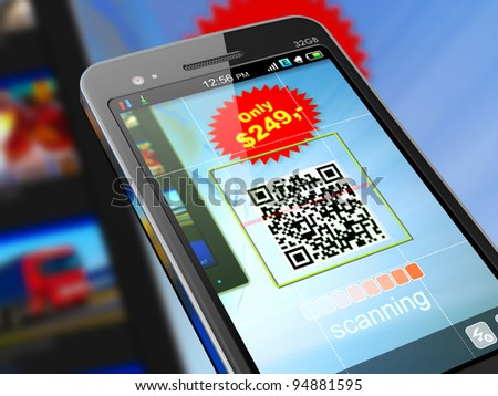 Macro view of smartphone scanning QR code for shopping