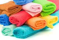 Macro view of stack of colorful towels