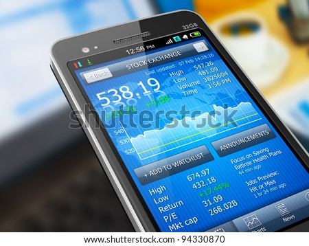 Macro view of stock market application on touchscreen smartphone