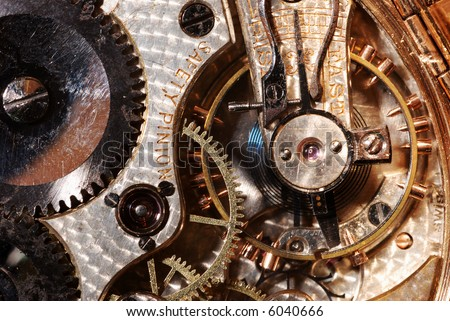 Macro view of the inside of an antique pocket watch. #6040666