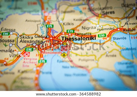 Free photos Thessaloniki pinned on a map of Greece Avopixcom