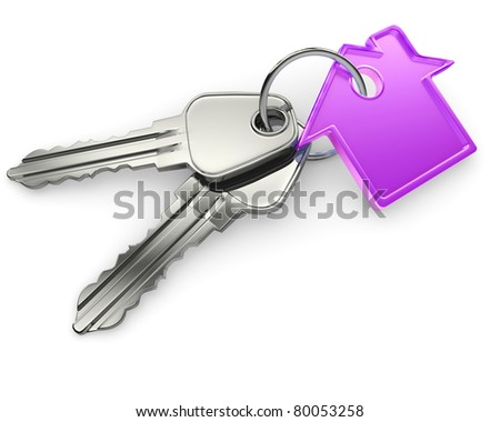 Macro view of two silver keys with house figure on the white background