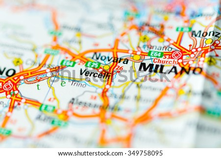 Novara Italy Map.Royalty Free Macro View Of Novara Italy On Map 349758089 Stock