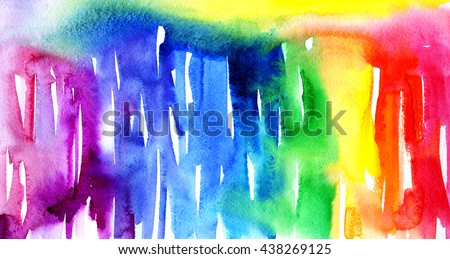 Macro wash watercolor background. Image of a colorful wet paint stains and splashes. Artistic technique rainbow illustration. Hand made backdrop art for print