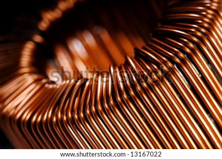 Macrodetail of a copper inductor in a transformer.