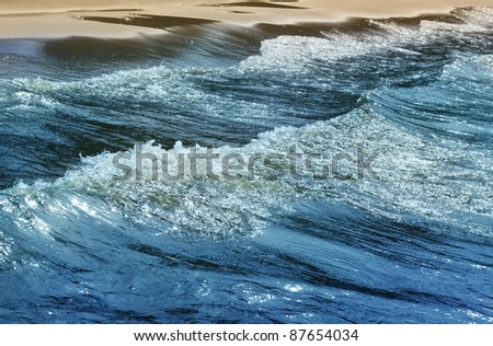 Macropicture of sea waves running on coast