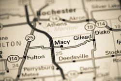 Macy. Indiana. USA on a map