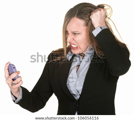 Mad businesswoman with phone pulls on her hair