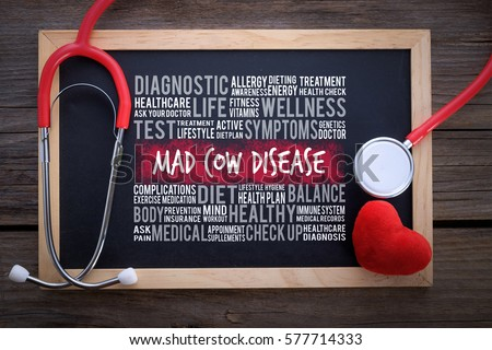 Mad Cow Disease general health word cloud on chalkboard with stethoscope, health / medical concept. ストックフォト ©