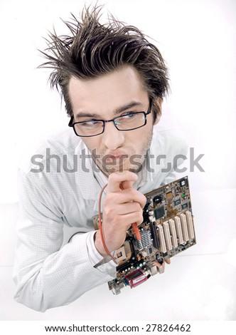 Mad technician repairing mainboard