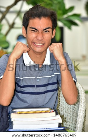 Mad University Asian Person With Notebooks