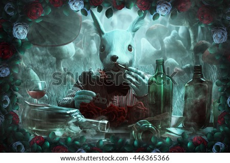 """mad white rabbit, white and red roses,mushrooms and fog. illustration to the fairy tale """"Alice in Wonderland"""""""