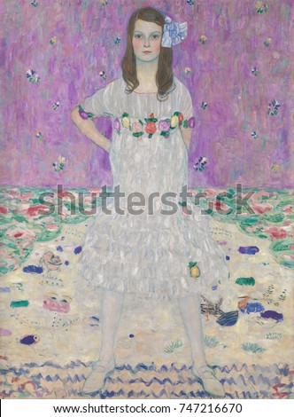 Mada Primavesi, by Gustav Klimt, 1912-13, Austrian Symbolist painting, oil on canvas. This portrait depicts a nine-year-old girl, standing before pastel colored patterns. Her parents were Otto and Eug