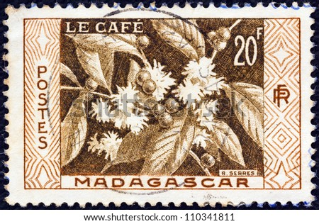 MADAGASCAR - CIRCA 1956: A stamp printed in Madagascar shows Coffee, circa 1956.
