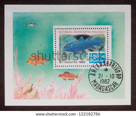 MADAGASCAR - CIRCA 1982: A stamp printed in Madagascar shows fishes of different kinds, circa 1982.
