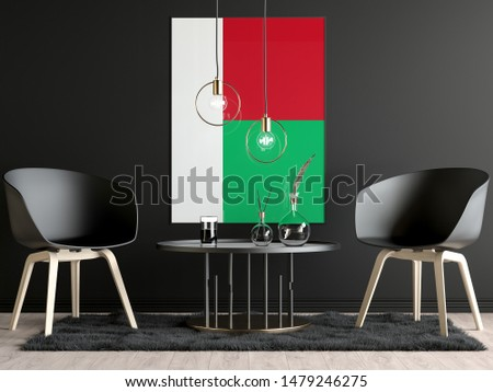 Madagascar Flag in Room, Madagascar Flag in Photo Frame
