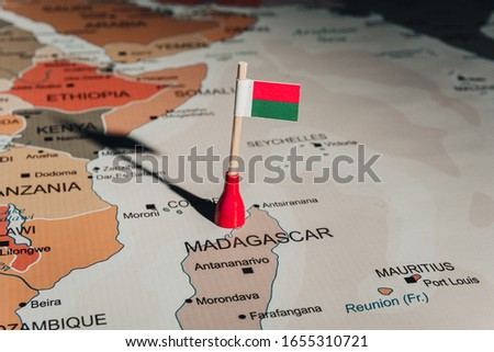 Madagascar flag on Madagascar map
