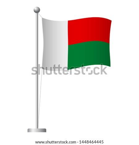 Madagascar flag on pole. Metal flagpole. National flag of Madagascar  illustration