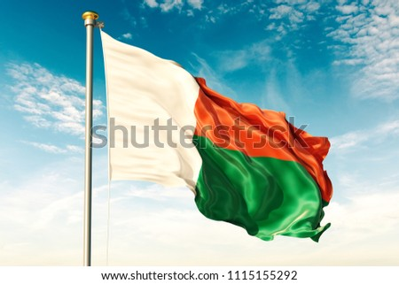Madagascar flag on the blue sky with cloud. 3D illustration