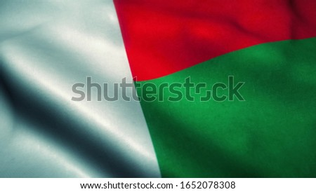 Madagascar flag waving in the wind. National flag of Madagascar. Sign of Madagascar. 3d rendering.