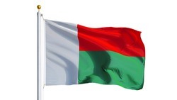 Madagascar flag waving on white background, close up, isolated with clipping path mask alpha channel transparency