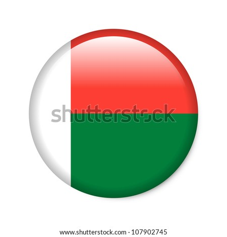 Madagascar - glossy button with flag