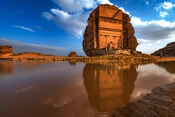 madain saleh or al hijr is an archaeological site located in alula in saudi arabia