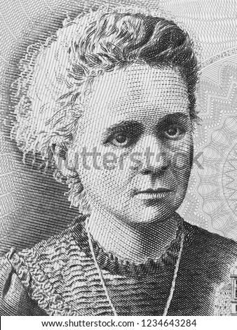 Madam Marie Curie on Poland 20 Zlotych banknote. Famous scientist and inventor in chemistry and physics. Black and white Photo stock ©