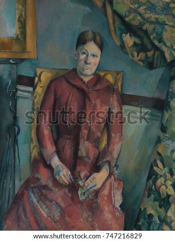 Madame Cezanne, by Paul Cezanne, 1888-90, French Post-Impressionist painting, oil on canvas. Portrait of the artists wife wearing a red dress in a furnished interior of their rented apartment at 15 qu