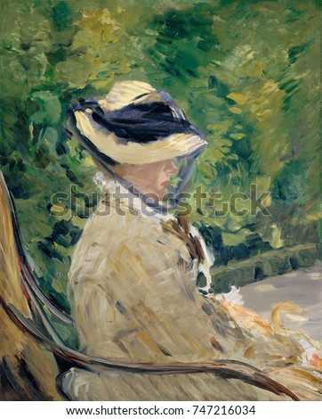 Madame Manet , by Edouard Manet, 1880 French impressionist oil painting. The portrait was painted in the Bellevue suburb of Paris, in the summer of 1880