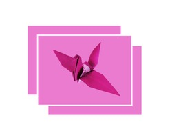 Made Design Concept Greeting Card With Pink Paper Bird On Pastel Magenta Background For Stock Photos or Illustration