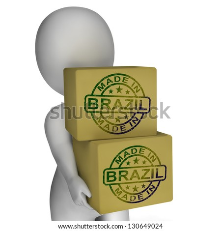 Made In Brazil Stamp On Boxes Showing Brazilian Products
